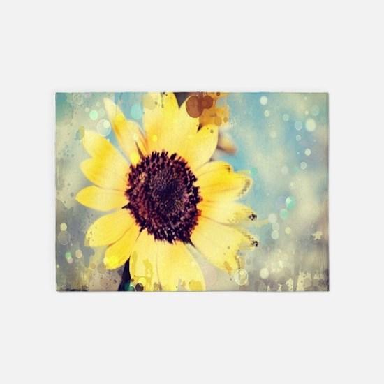 romantic summer watercolor sunflowe 5'x7'Area Rug
