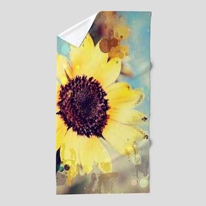 romantic summer watercolor sunflower Beach Towel