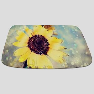 romantic summer watercolor sunflower Bathmat
