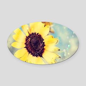 romantic summer watercolor sunflow Oval Car Magnet