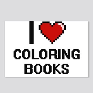 I love Coloring Books Dig Postcards (Package of 8)