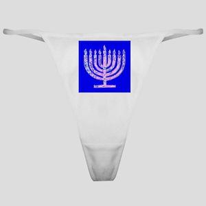 Blue Menorah Hanukkah Lemuel's Fave Classic Thong