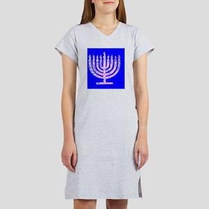 Blue Menorah Hanukkah Lemuel's Women's Nightshirt