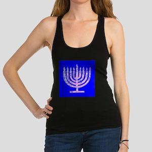 Blue Menorah Hanukkah Lemuel's Racerback Tank Top