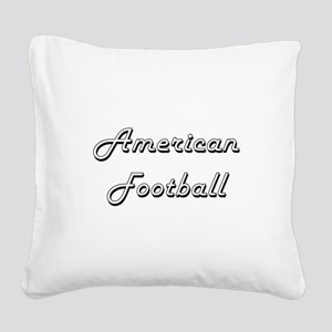 American Football Classic Ret Square Canvas Pillow