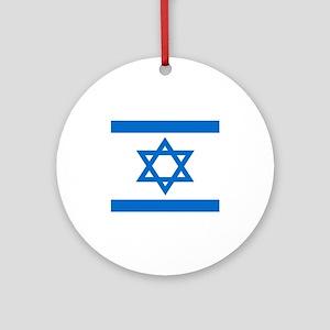 Square Israeli Flag Ornament (Round)