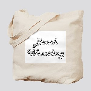 Beach Wrestling Classic Retro Design Tote Bag