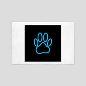 Blue Neon Dog Paw Print 4' x 6' Rug