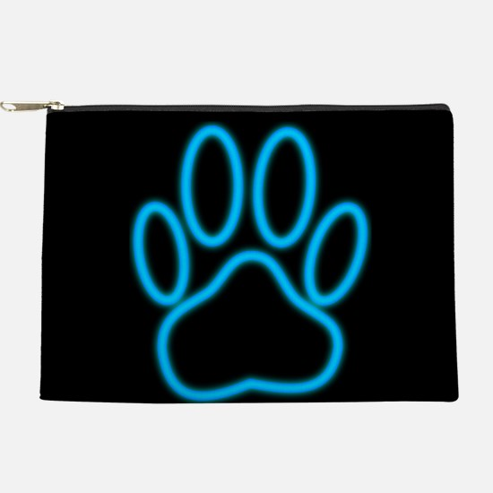 Blue Neon Dog Paw Print Makeup Bag