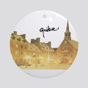 Inside Old Quebec with Signat Ornament (Round)