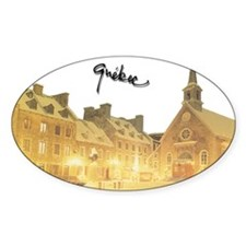 Inside Old Quebec Turned Sign Oval Sticker