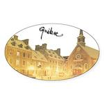 Inside Old Quebec Turned Sign Oval Sticker