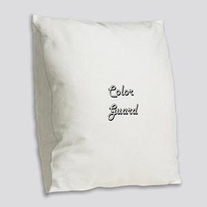 Color Guard Classic Retro Desi Burlap Throw Pillow
