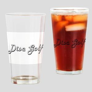 Disc Golf Classic Retro Design Drinking Glass