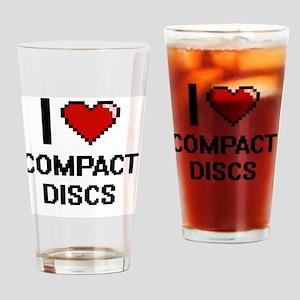 I love Compact Discs Digitial Desig Drinking Glass