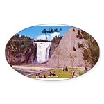 Montmorency Falls Quebec Sign Oval Sticker