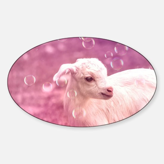 Baby Goat Whitey Sticker (Oval)