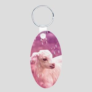 Baby Goat Whitey Aluminum Oval Keychain