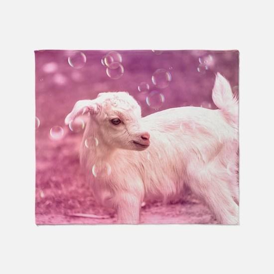 Baby Goat Whitey Throw Blanket