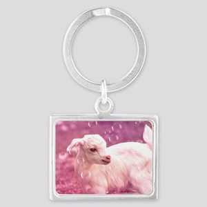 Baby Goat Whitey Landscape Keychain