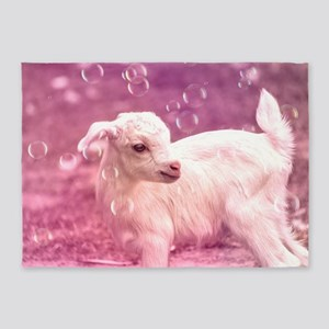 Baby Goat Whitey 5'x7'Area Rug