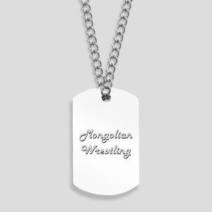 Mongolian Wrestling Classic Retro Design Dog Tags