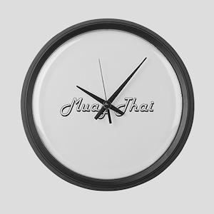 Muay Thai Classic Retro Design Large Wall Clock