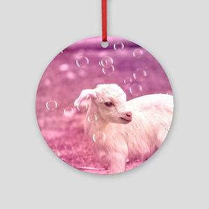 Baby Goat Whitey Ornament (Round)