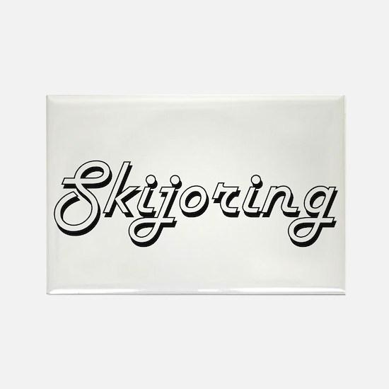 Skijoring Classic Retro Design Magnets