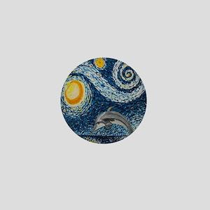 Starry Night Dolphin Mini Button