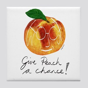 Funny Hipster Give Peach A Chance! Tile Coaster