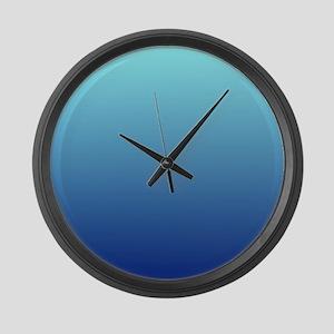 aqua blue ombre Large Wall Clock
