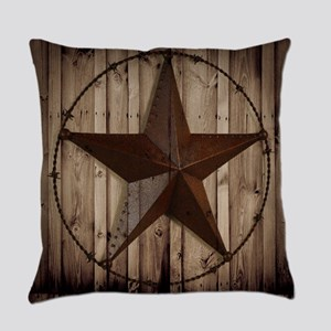 western texas star wood grain barn Everyday Pillow