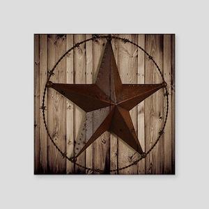 "western texas star wood gra Square Sticker 3"" x 3"""