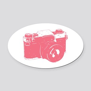 Pink Camera Oval Car Magnet