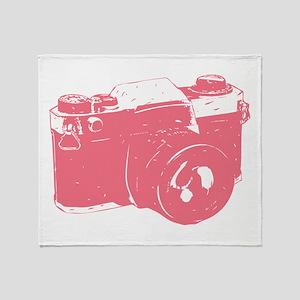 Pink Camera Throw Blanket