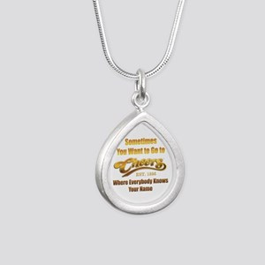 Cheers Silver Teardrop Necklace