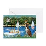 Sailboats & Boxer Greeting Cards (Pk of 20)