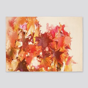 elegant autumn fall leaves 5'x7'Area Rug