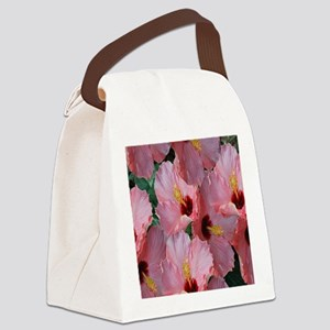 Pink Hibiscus Flower Canvas Lunch Bag