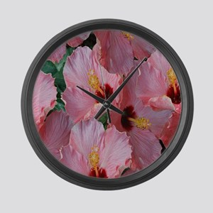 Pink Hibiscus Flower Large Wall Clock
