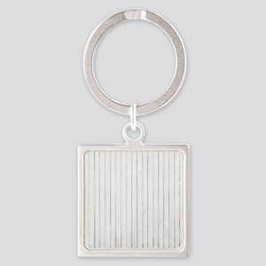 shabby chic white pin stripes Keychains