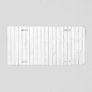 shabby chic white pin strip Aluminum License Plate