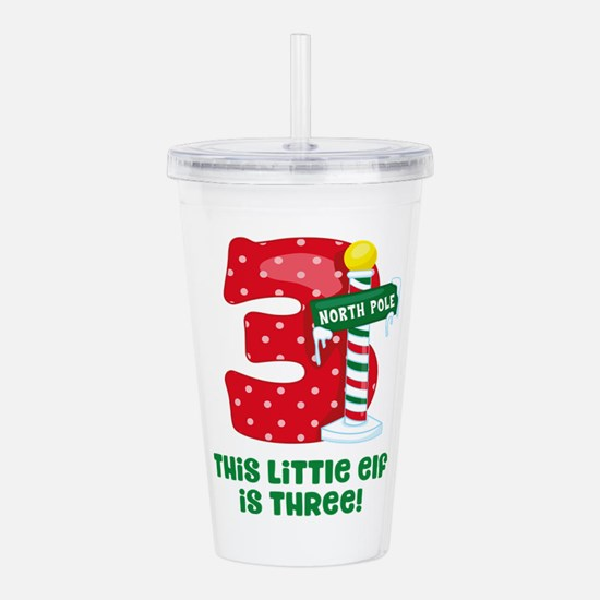 Little Elf 3rd Birthda Acrylic Double-wall Tumbler