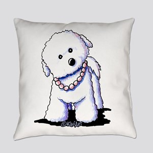 KiniArt Bichon In Pearls Everyday Pillow