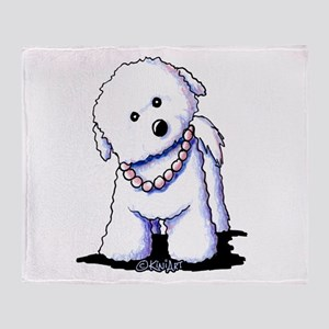 KiniArt Bichon In Pearls Throw Blanket