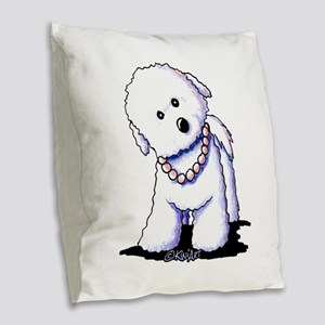 KiniArt Bichon In Pearls Burlap Throw Pillow