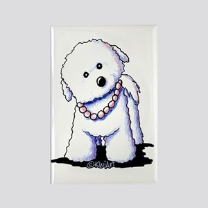 KiniArt Bichon In Pearls Rectangle Magnet