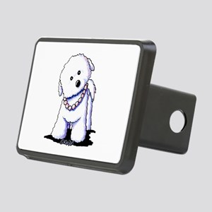 KiniArt Bichon In Pearls Rectangular Hitch Cover