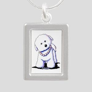 KiniArt Bichon In Pearls Silver Portrait Necklace